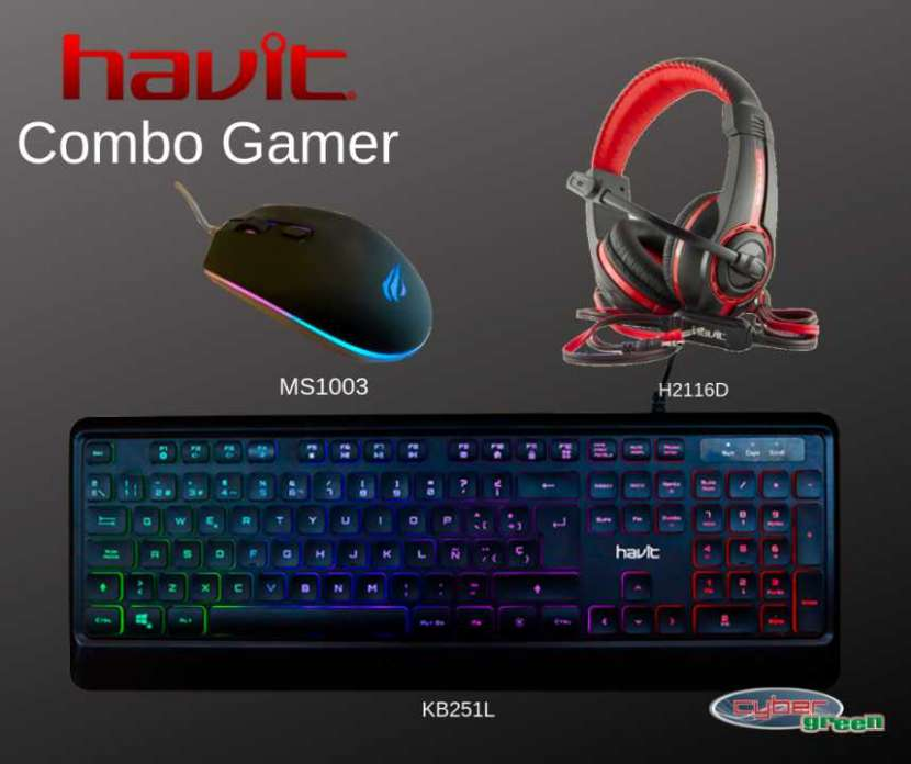 Combo gamer havit teclado + mouse + auricular - 0