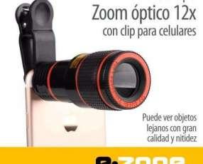 Telescopio zoom óptico 12x con clip para celulares