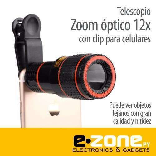 Telescopio zoom óptico 12x con clip para celulares - 0
