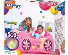 Auto infantil pelotero inflable rosa