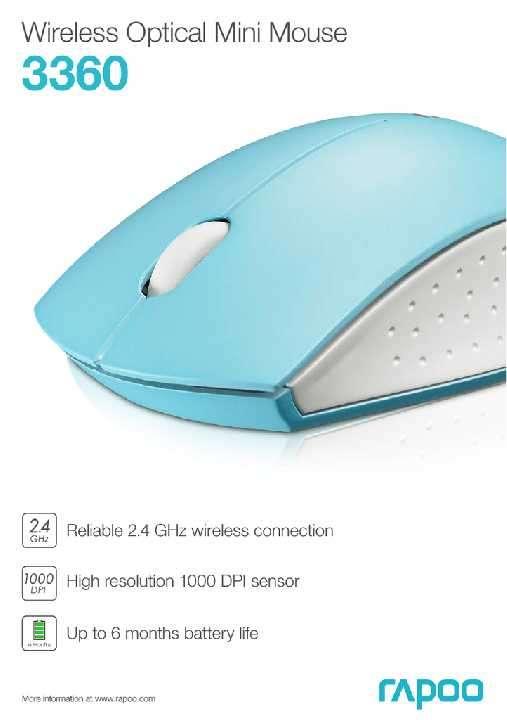 Mouse USB wireless Rapoo mini 3360 blanco/celeste - 2
