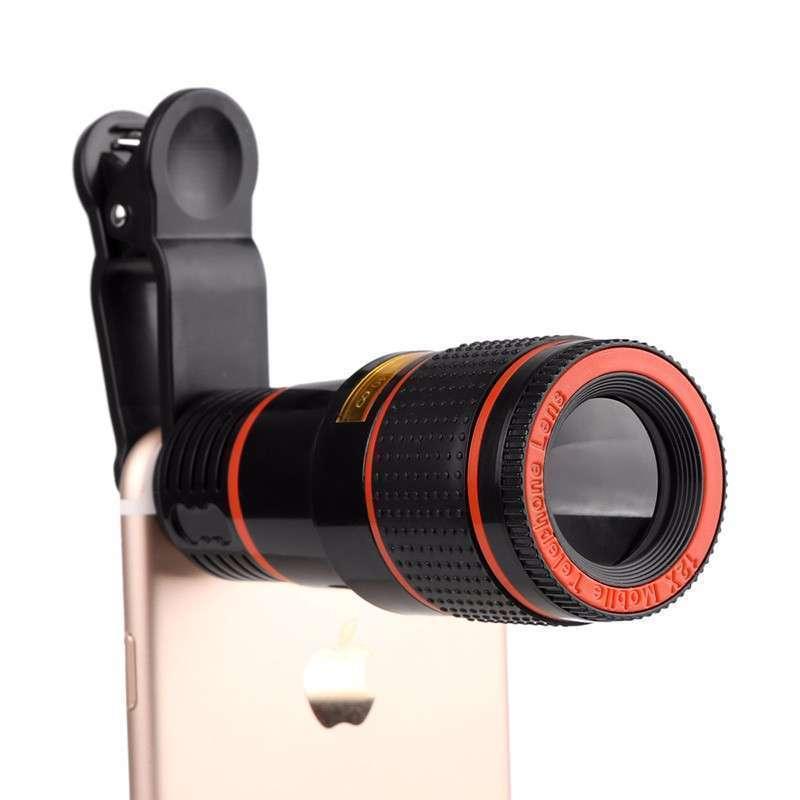 Telescopio zoom óptico 12x con clip para celulares - 1