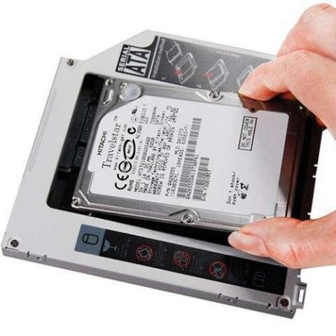 "Rack gaveta interna 12.7,mm conversor DVD de notebook sata 3.5"" a HD 2.5""."
