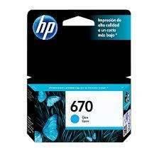 Cartucho de tinta HP 670 Cian Celeste