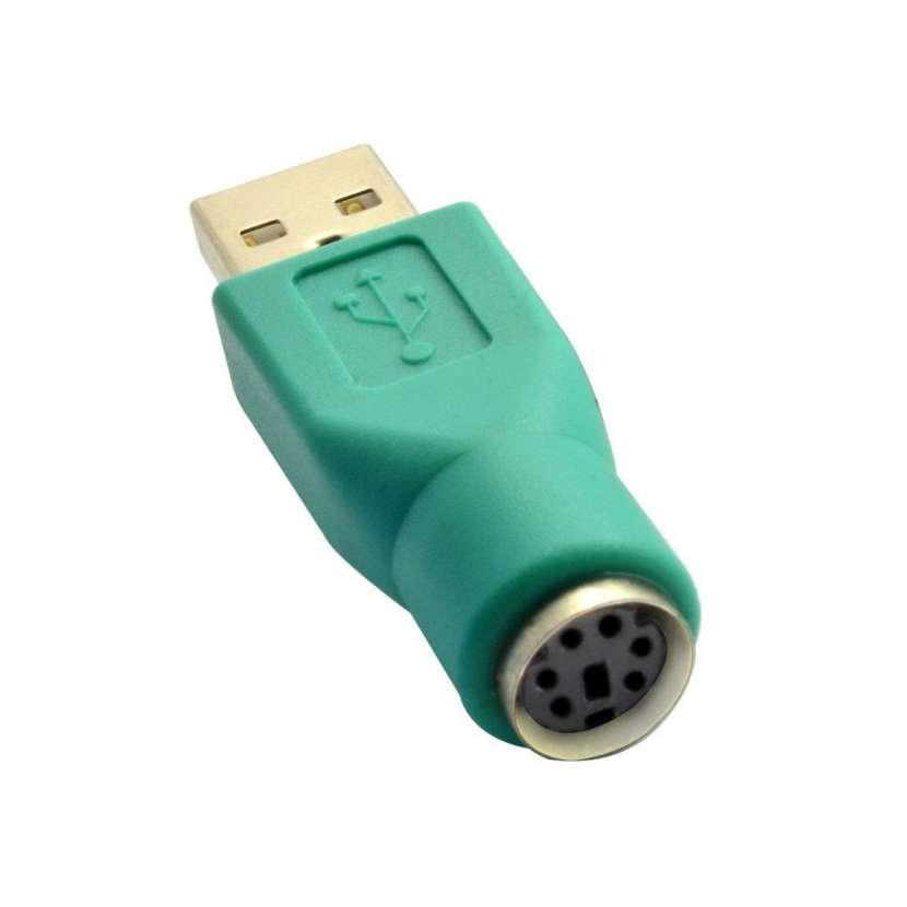 Conversor usb a ps2 usb macho a ps2 hembra de teclado o mouse cable corto. - 0