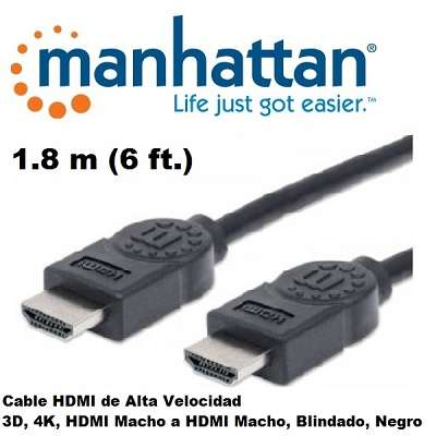 Cable hdmi macho a hdmi macho 01.8 metros manhattan.