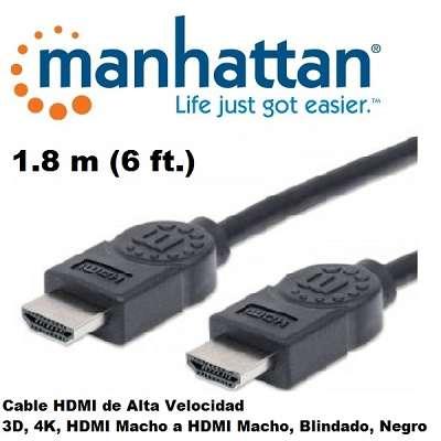Cable hdmi macho a hdmi macho 01.8 metros manhattan. - 0
