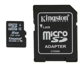 Memoria micro SD 8 GB. Kingston con adaptador SD.