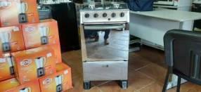 Cocina inoxidable espejado de 4 hornallas JAM Luxus