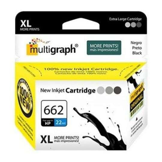 Cartucho de tinta XL multigraph 662 negro para HP - 0
