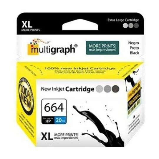 Cartucho de tinta XL multigraph 664 negro para HP - 0