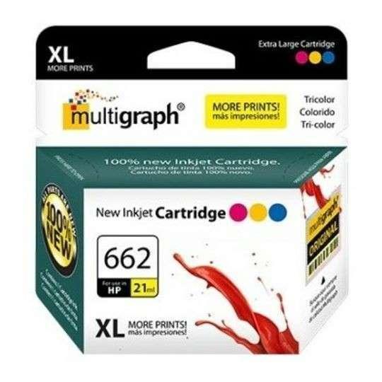 Cartucho de tinta XL multigraph 662 color para HP - 0