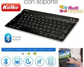 Teclado Bluetooth Inalámbrico con Soporte para Tablet y Smar
