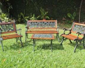 Juego de jardín rosita madera y hierro