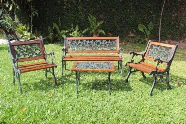 Juego de jardín rosita madera y hierro - 0