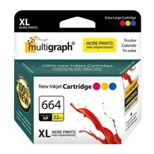 Cartucho de tinta XL multigraph 664 color para HP - 0