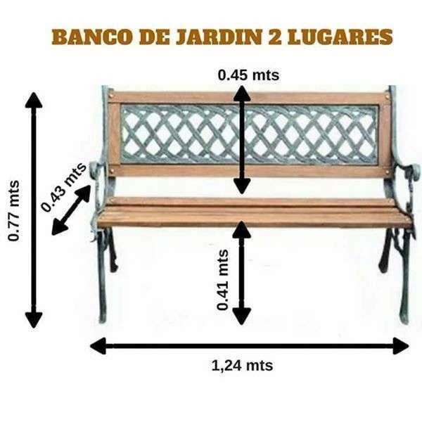 Banqueta de jardín de hierro forjado y madera - 2