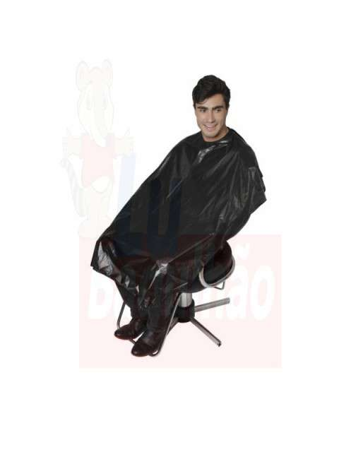 Capa negro PVC para peluquería - 0