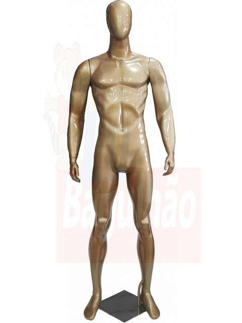 Maniquí dorado de fibra de vidrio - 0