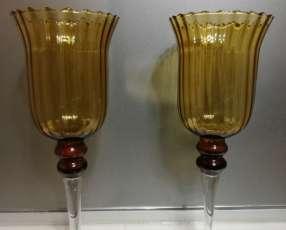 Candeleros de Cristal Ahumado (el par)