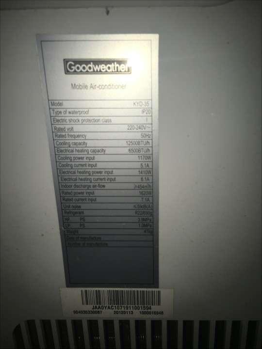 Aire portátil 12.000 btu Goodwether - 1