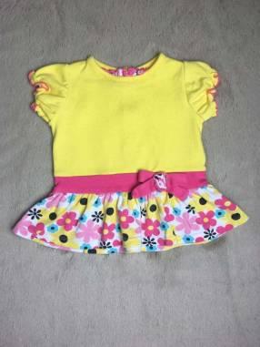 Vestidito amarillo con volados floreados, Okie Dokie.