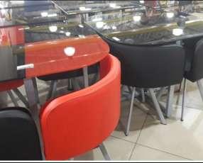 Mesa cuadrada y redonda