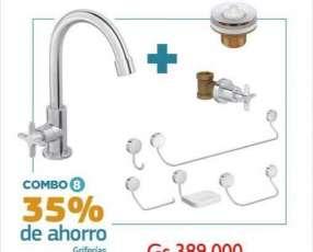 Grifería y accesorios para baño Deca combo 8