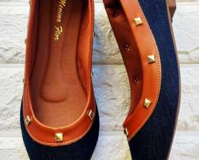Chatitas jeans borde marron spike
