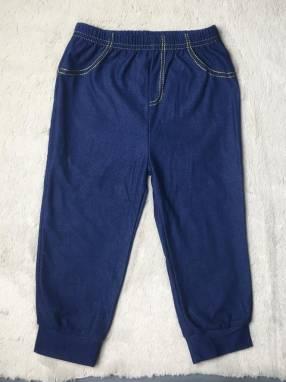 Pantalón con tela jean oscuro, 24 meses