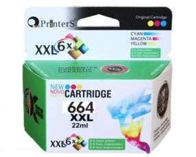 Cartucho de tinta xxl printers 664 color para hp