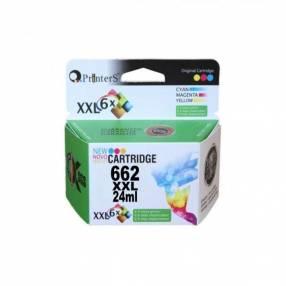 Cartucho de tinta xxl printers 662 color para hp