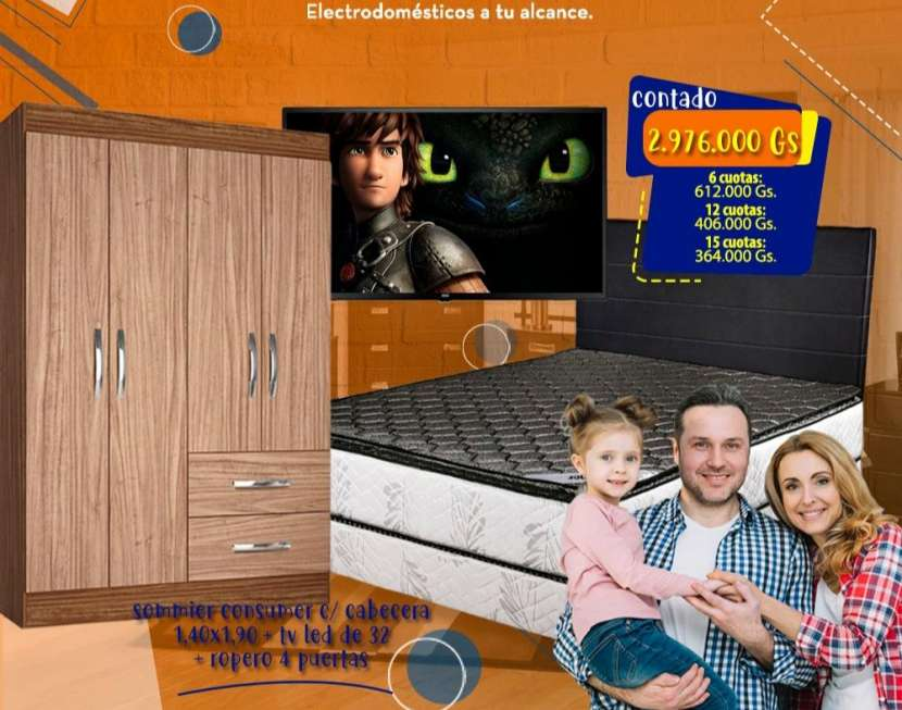 TV AOC de 32 pulgadas + Sommier + Ropero Jaspe - 0
