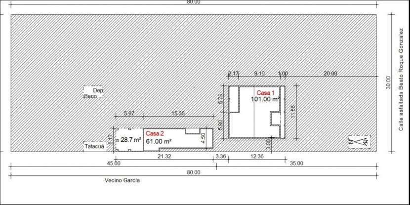 Casas en un terreno 30x80 - 0