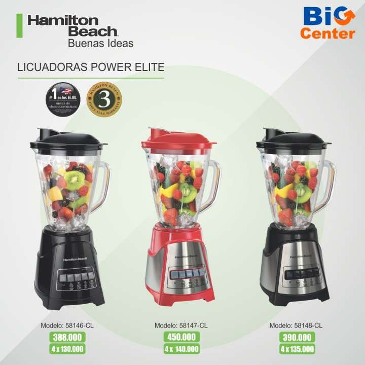 Licuadora Power Elite Jarra de Vidri Hamilton Beach - 0