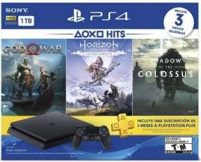 PlayStation 4 con 3 juegos: God of War, Horizon, Shadow