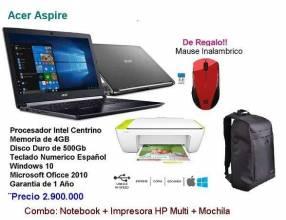 Noteboot Acer Aspire + Impresora + Mochila