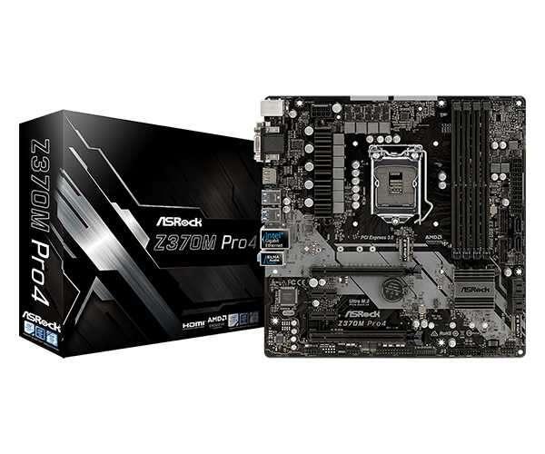 MB ASROCK 1151 Z370M PRO4 V/S/R/DVI/HDMI/M2/DDR4 - 0