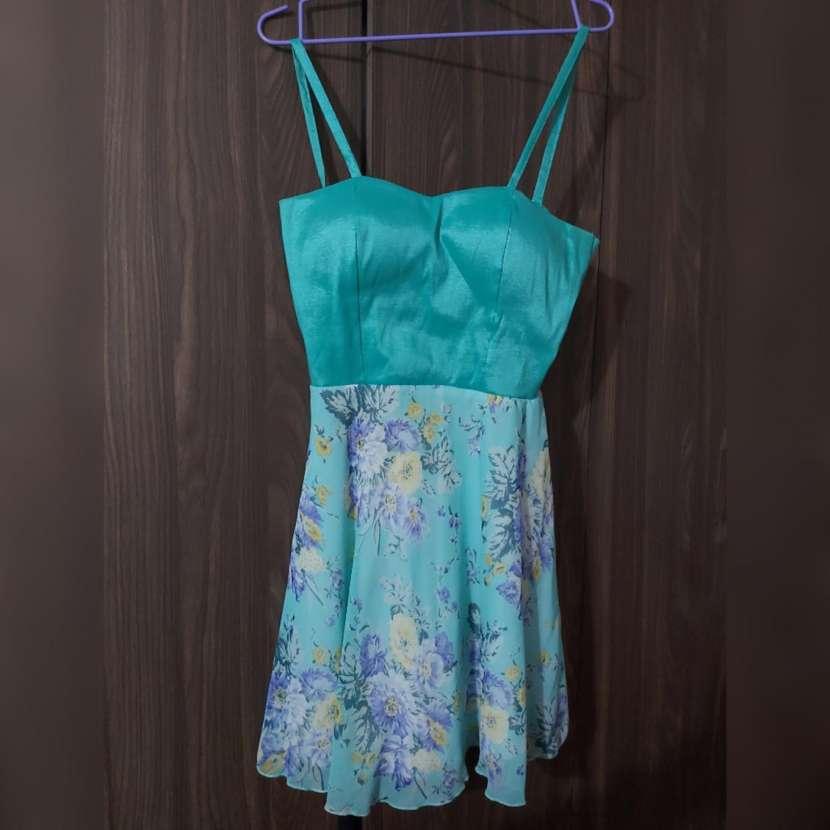 Vestido de coctel, corto, verde agua - 1