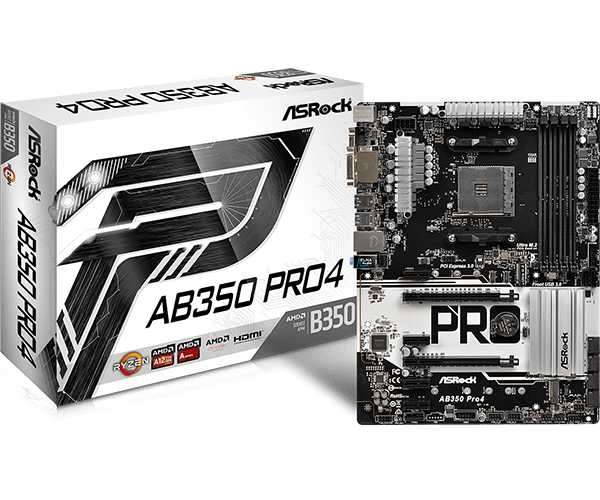 MB ASROCK AM4 AB350 PRO4 V/S/R/DVI/HDMI/M2/DDR4 - 0