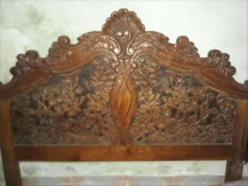 Cabecera de madera totalmente tallada. - 0