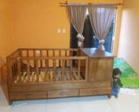 Cama cuna de madera 7 cajones