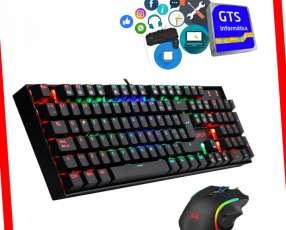 Kit gamer teclado mecánico rgb + mouse de 7200dpi rgb