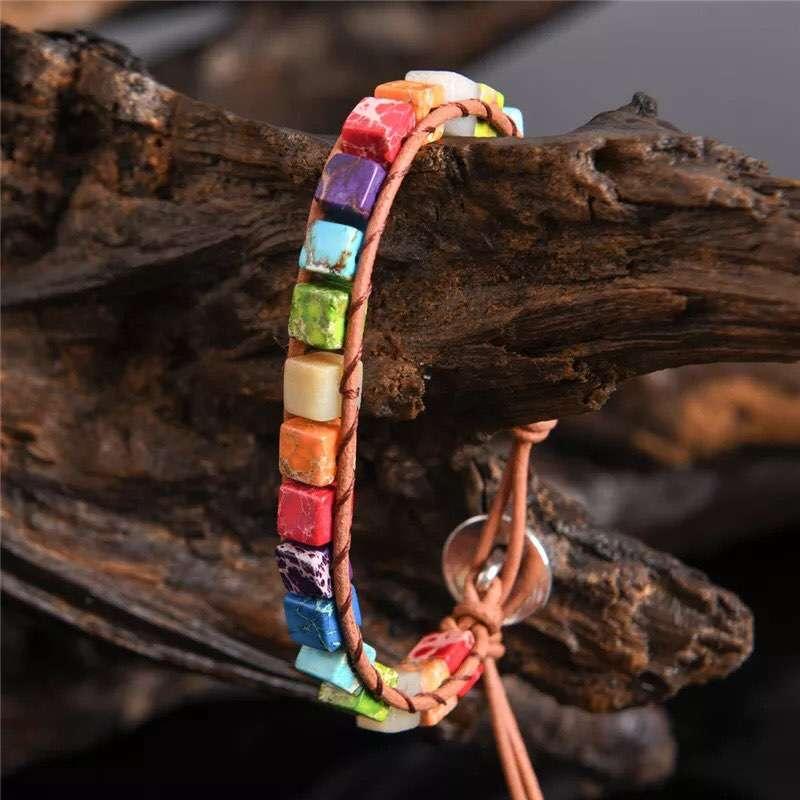 Pulsera colorida bohochic de cuero - 0