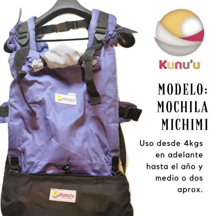 Mochila Ergonómica Evolutiva Michimi Color Azul (rayas) - 0