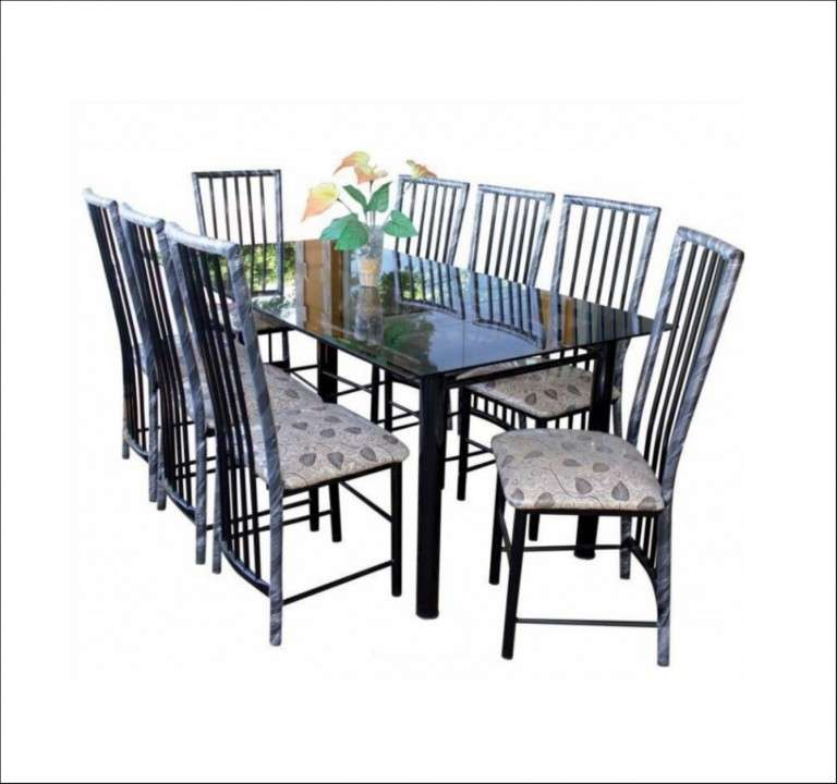 Juego de comedor c/ 8 sillas imperial mesa de vidrio mh - 0