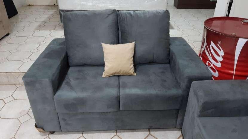 Sofá solo de 2 con almohadones de fibra siliconada tela lavable - 0