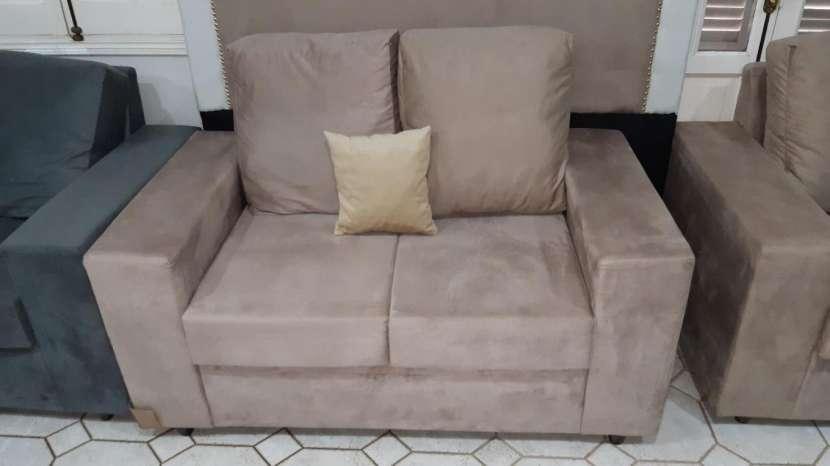 Sofá solo de 2 con almohadones de fibra siliconada tela lavable - 1