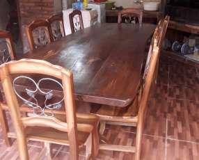 Mesa rústica de lapacho 10 sillas