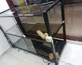 Mostrador - exhibidor de vidrio y metal para negocio